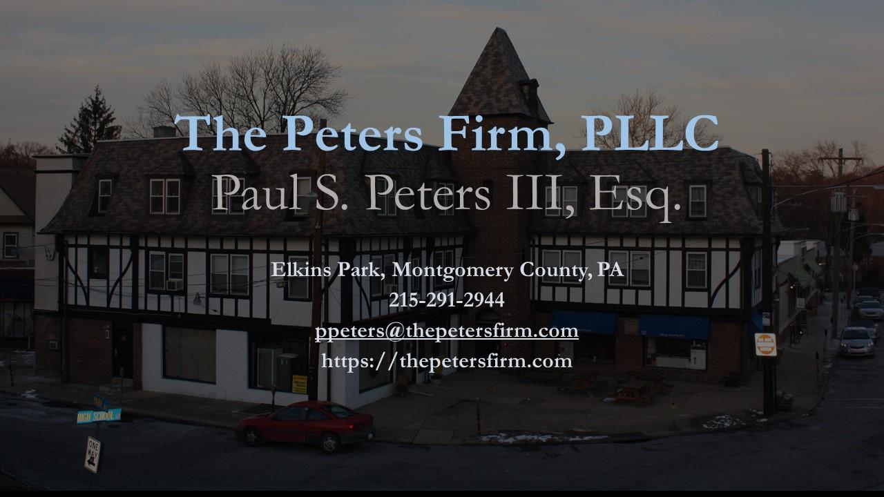 Paul S. Peters III, Esq. Elkins Park, PA